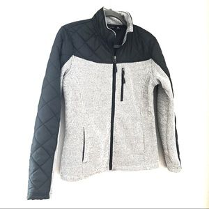 Swiss Tech quilted and knit zip front jacket